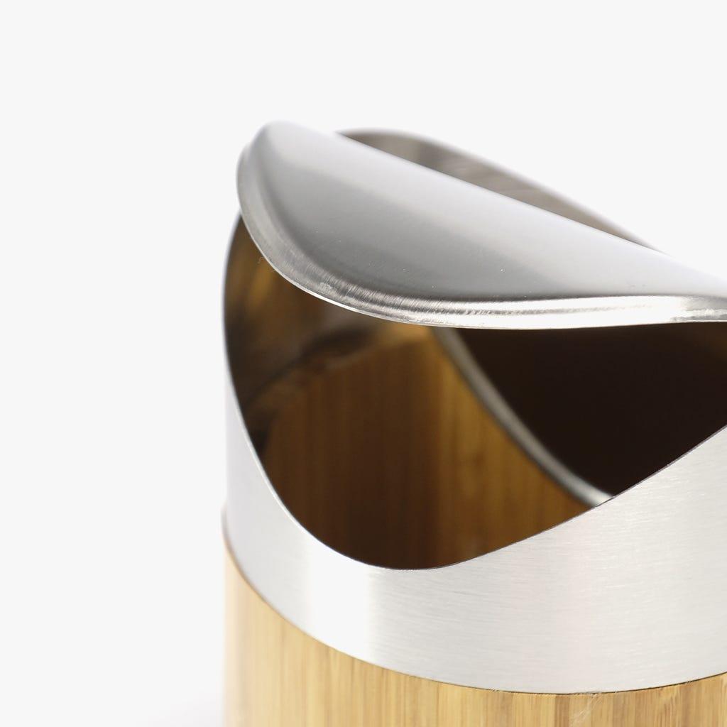 Caixote do Lixo Bambu/Inox Mini