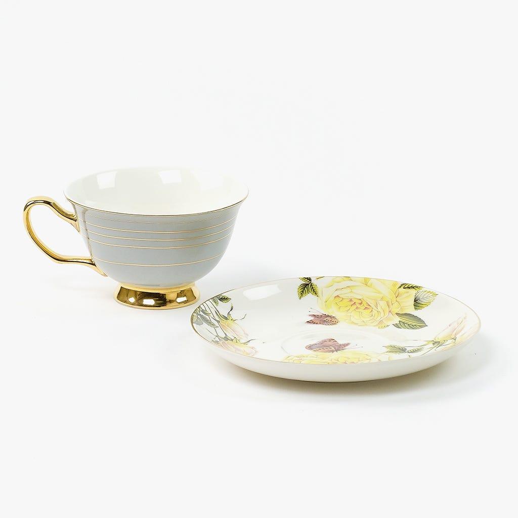 Chávena de Chá Flores Cinza