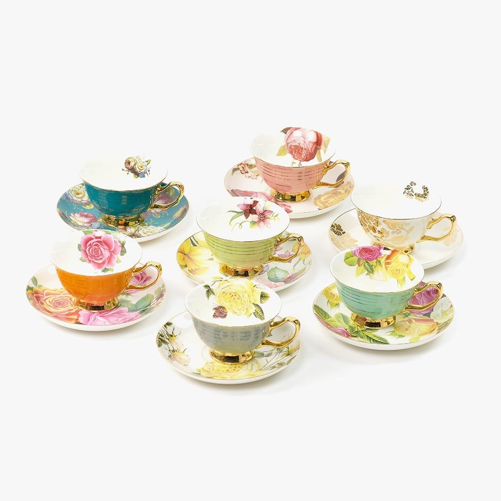 Chávena de Chá Flores Laranja