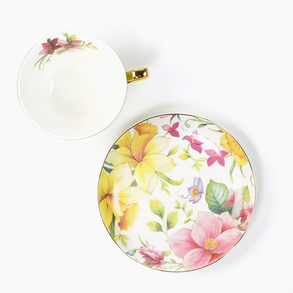 Chávena de Chá Flores Verde