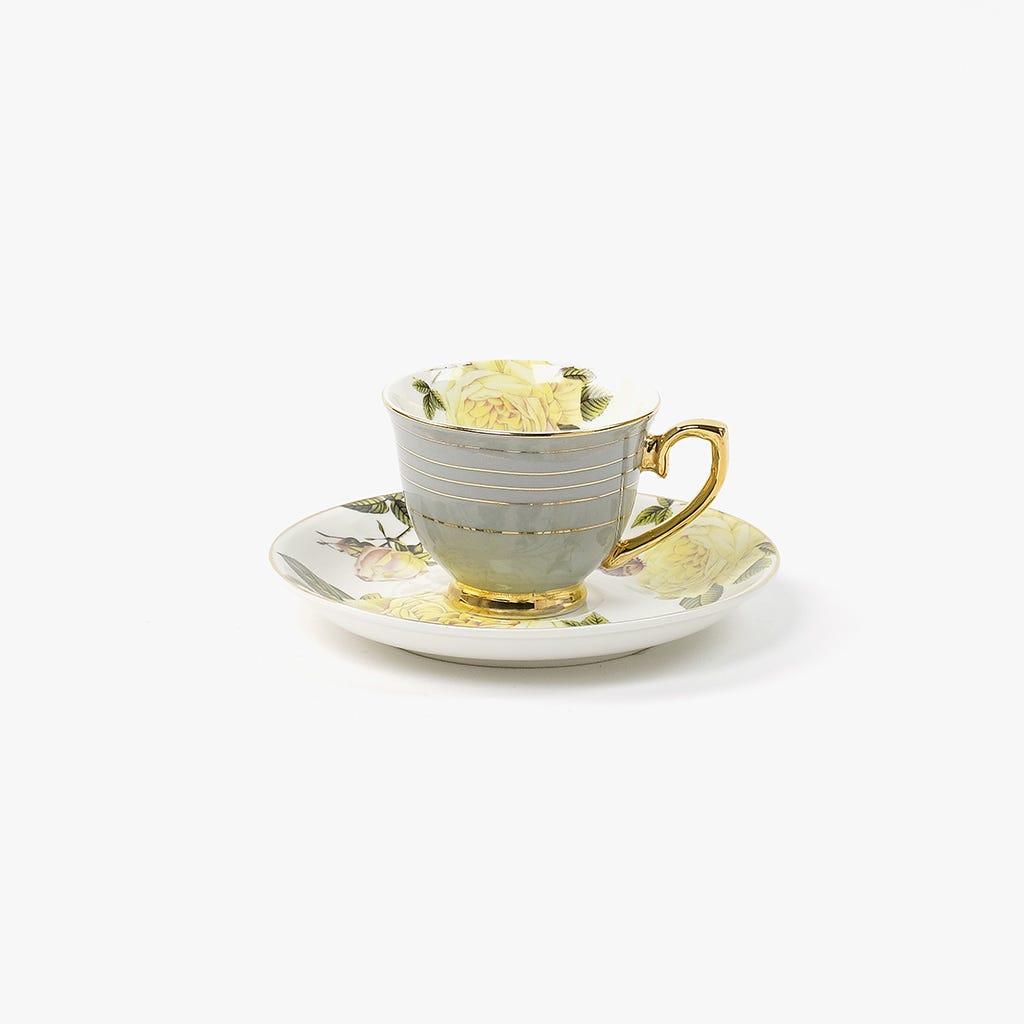 Chávena de Café Flores Cinza
