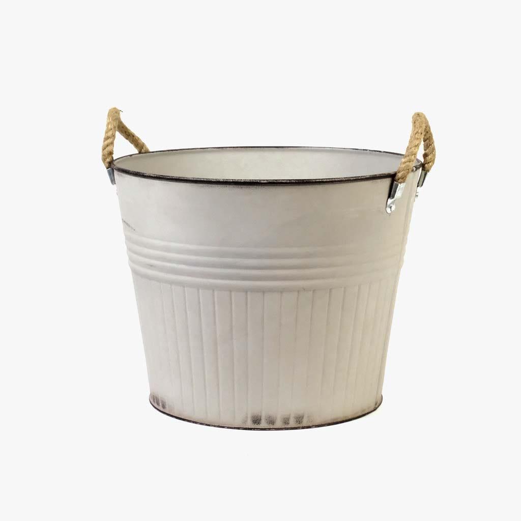 Vaso com pegas Branco 30x30x24 cm