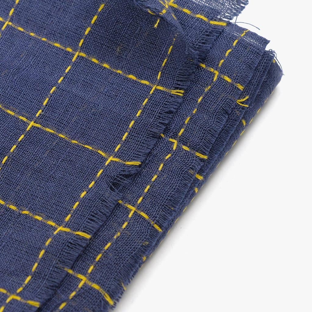 Echarpe Quadrados Azul e Amarelo 100x180 cm