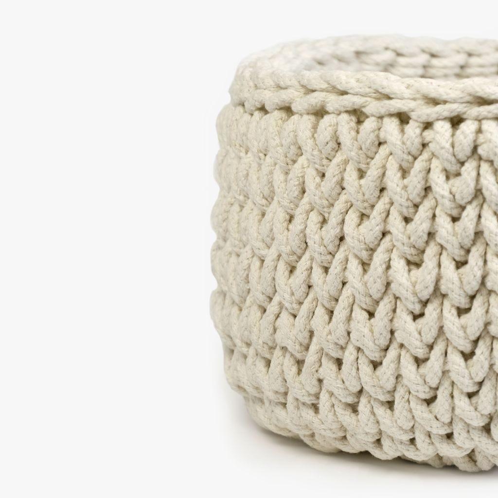 Cesto Tricot Branco D:40x20 cm