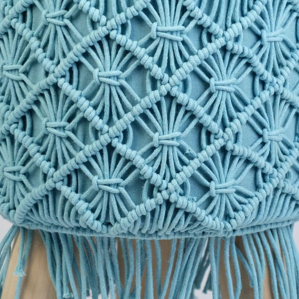 Banqueta Macramé Azul 33x45 cm