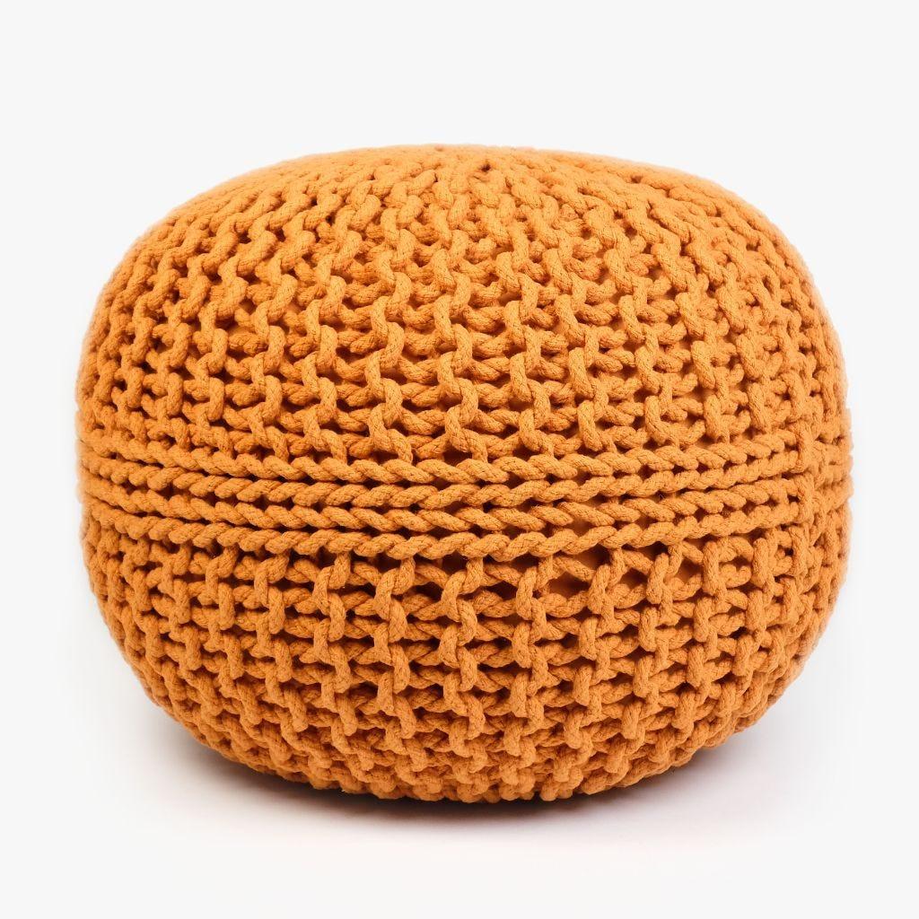 Pouf Tricot Orange D:50x35 cm