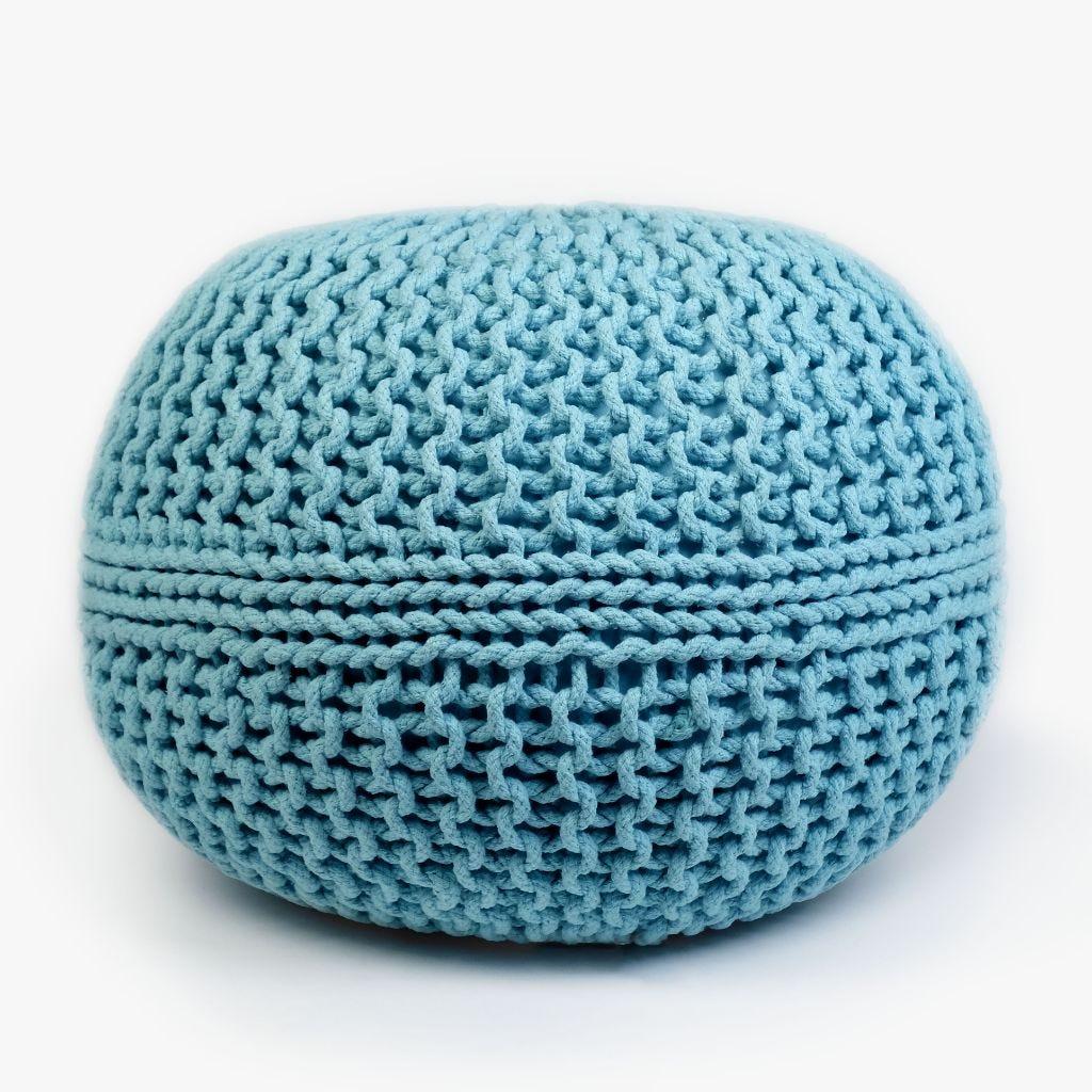Puf Tricot Azul D:50x35 cm