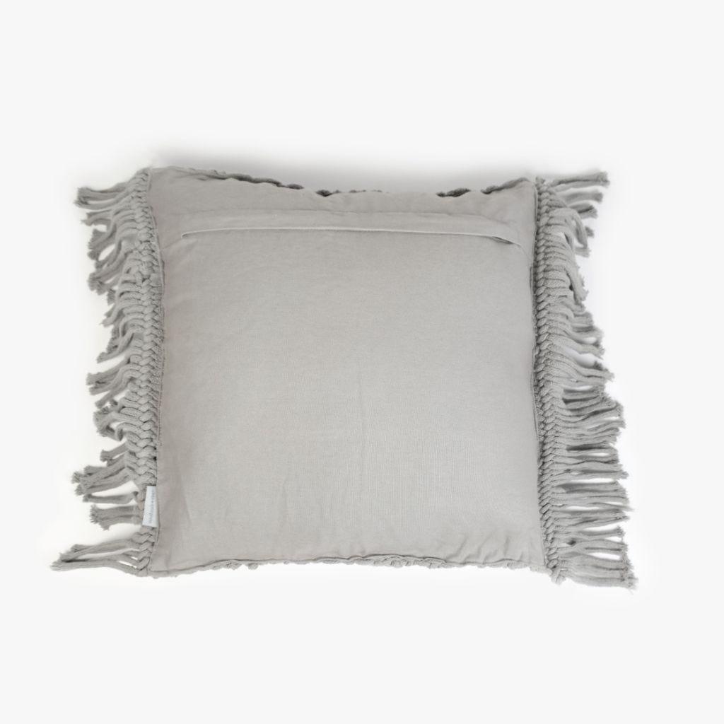 Capa de Almofada Macramé Cinzento 45x45 cm