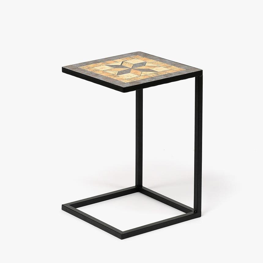 Mesa de Apoio Mosaico Bege 36x36x56 cm
