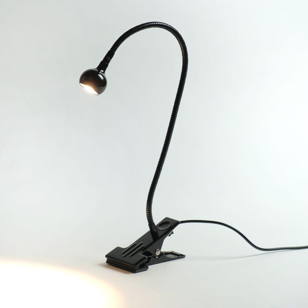 Lampe de Table avec Clip Noir 1 LED