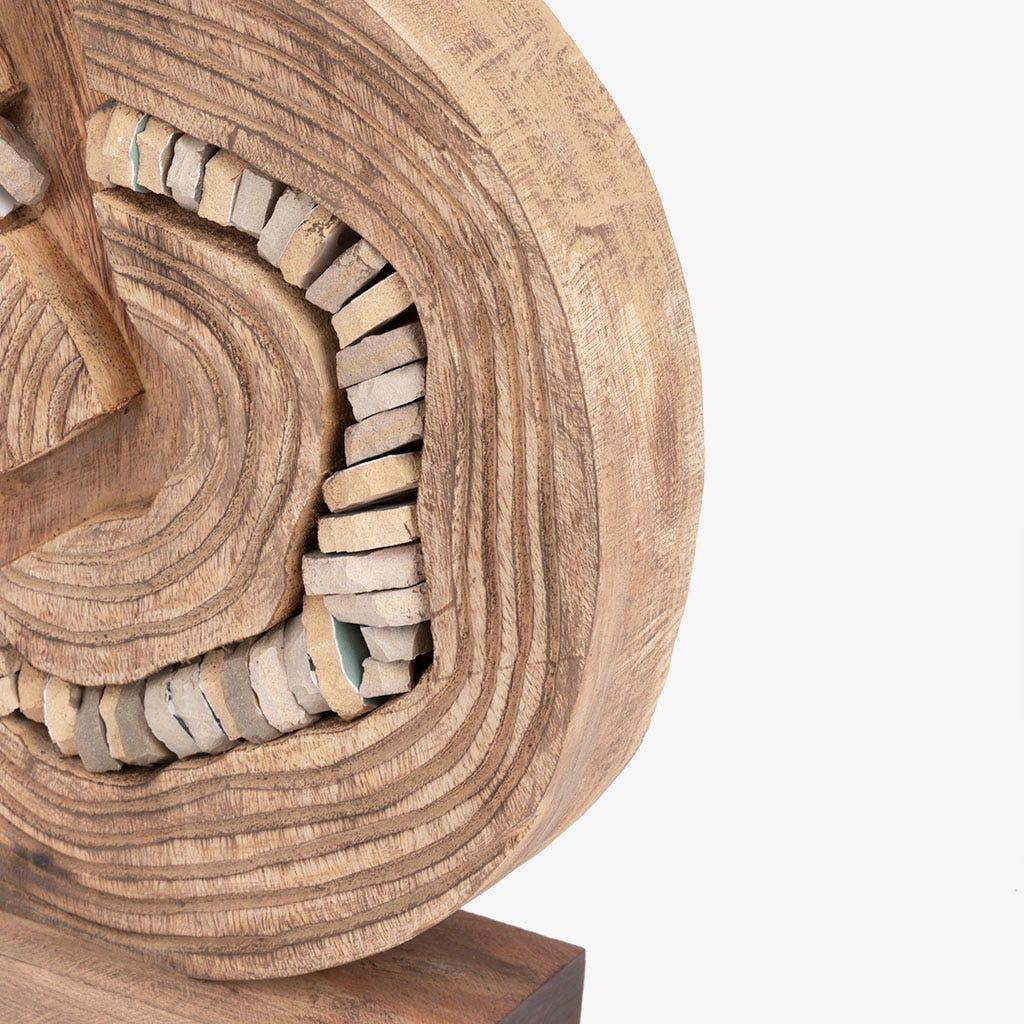 Pièce décorative Pierres Bois 29x8x32 cm