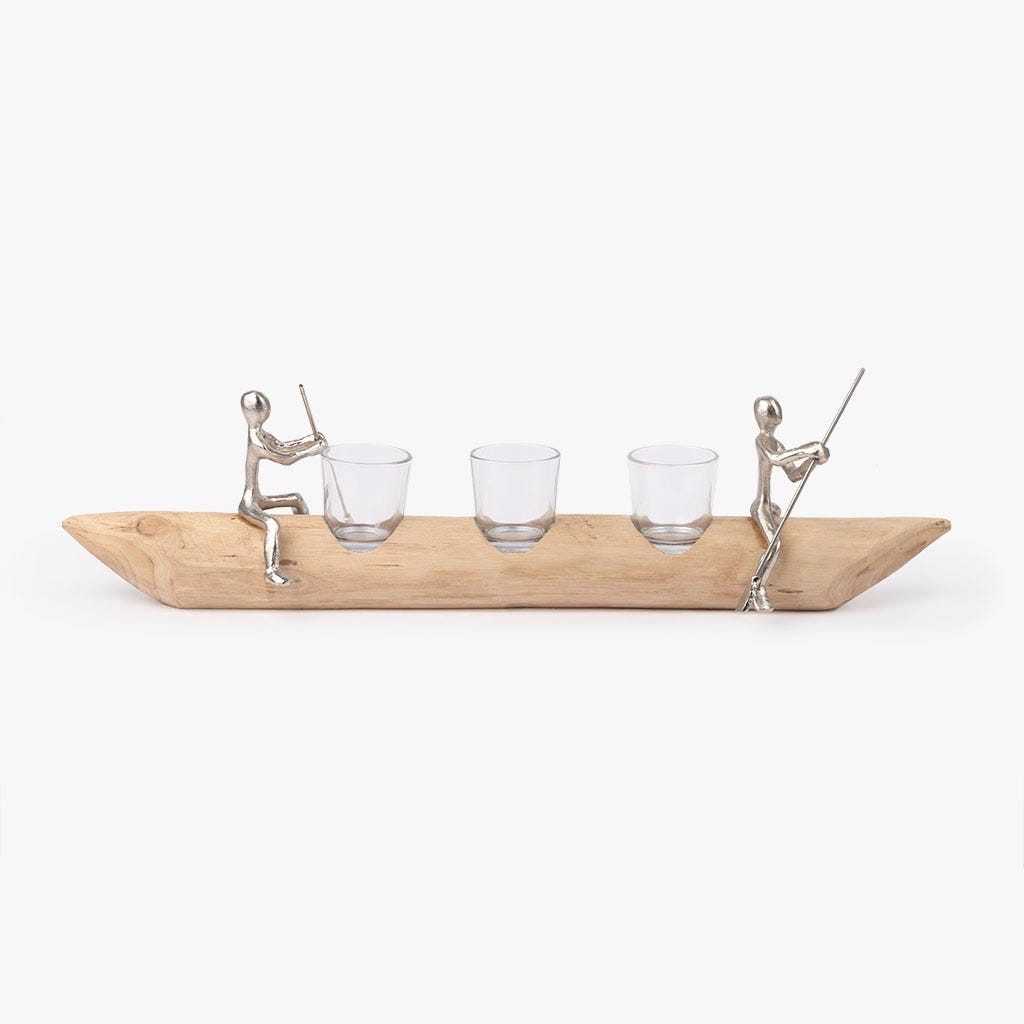 Suporte de vela madeira 56 cm 3 Tealights