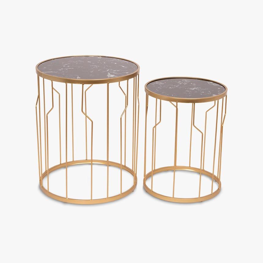 Mesa de apoio Marbella mármore dourado 47x58/37x50 (conj.2)