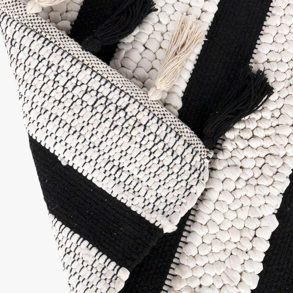 Alfombrilla de Baño Blanco y Negro 50x80 cm
