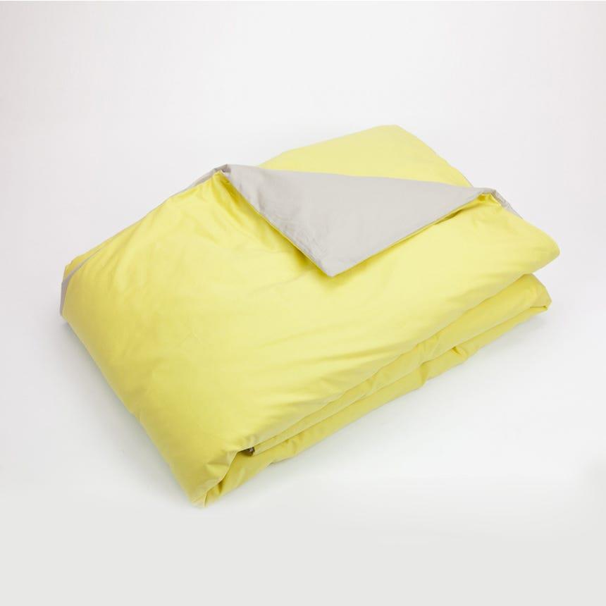 Saco de Edredão Percal Reversível Amarelo e Seixo 140x200 cm