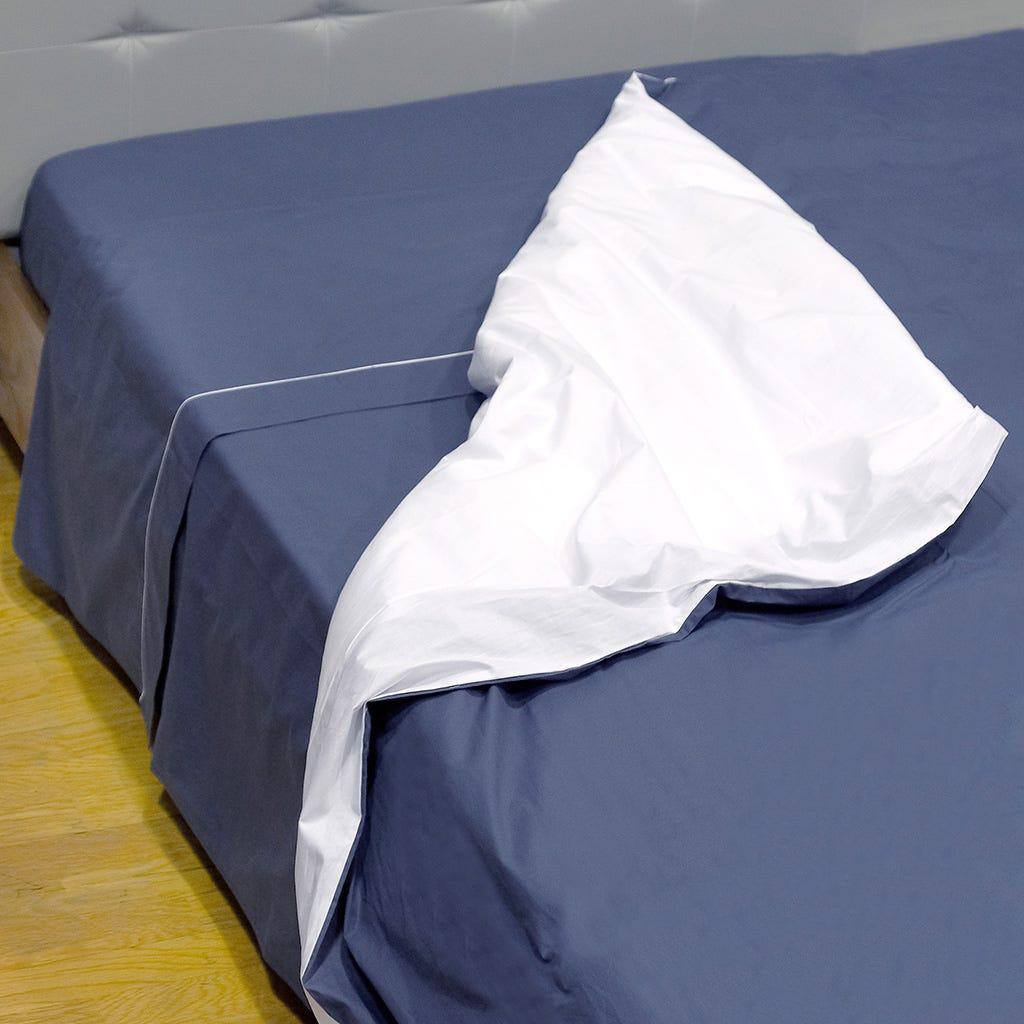 Saco de Edredão Percal Rev. Azul Marinho e Branco 140x200 cm