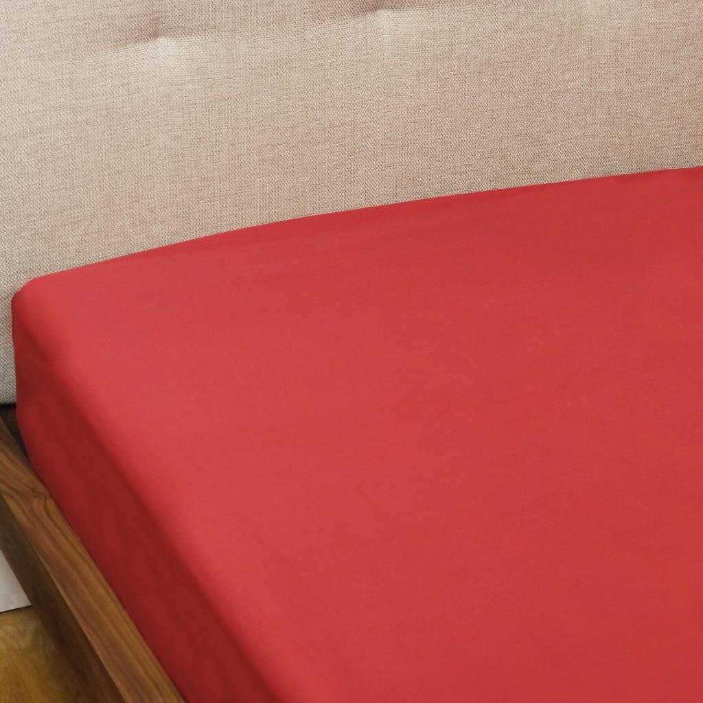 Lençol Ajustável Percal Vermelho 90x200+30 cm