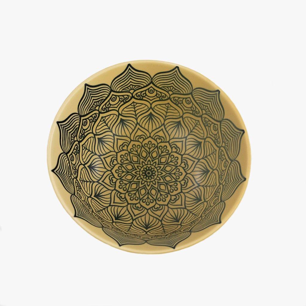 Taça Relevo Flor Preto e bege 15 cm