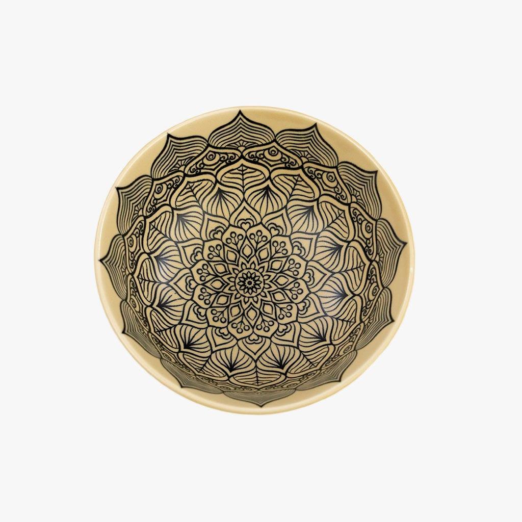 Taça Relevo Preto e Bege 12 cm