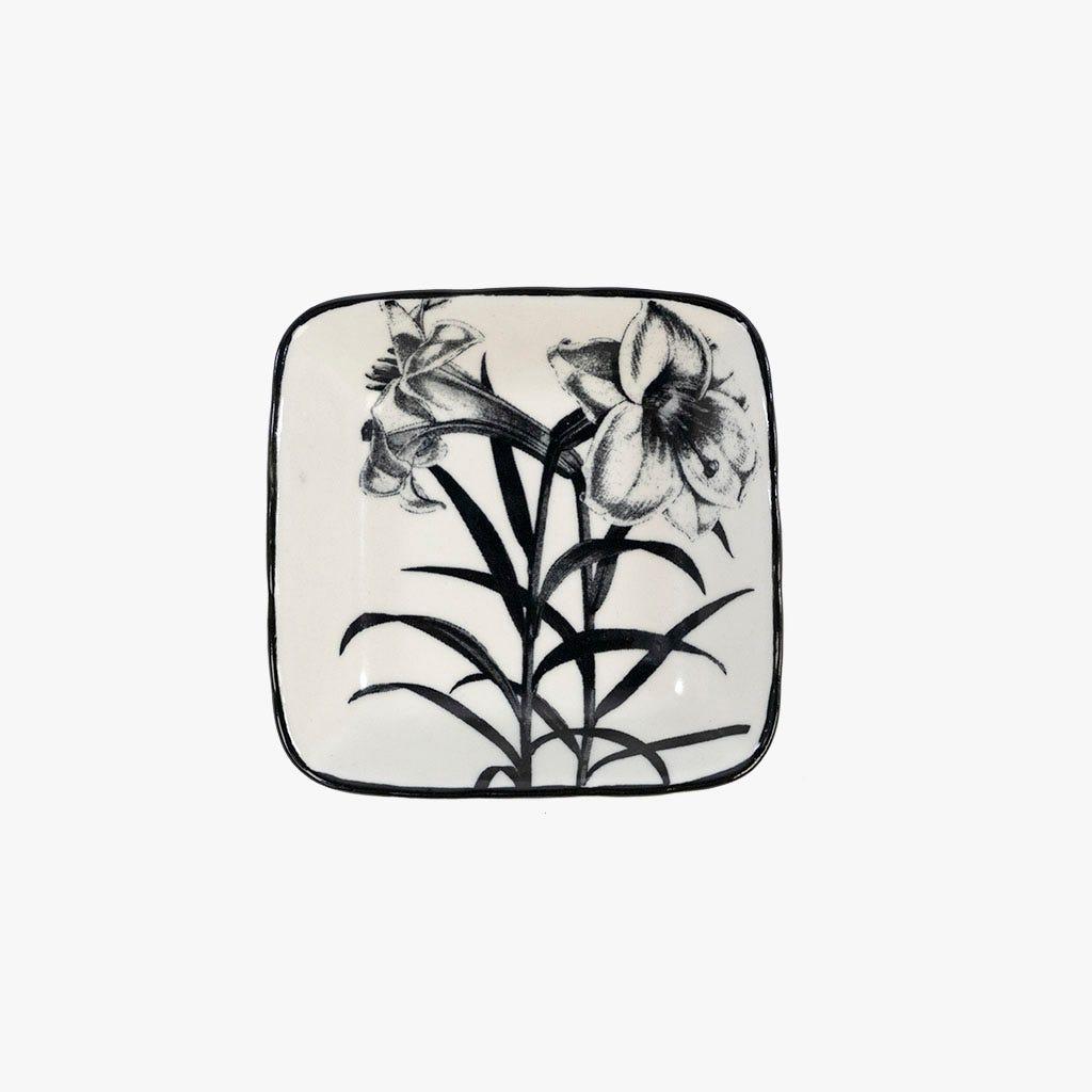 Mini prato Flor Branco e Preto 8.85 cm