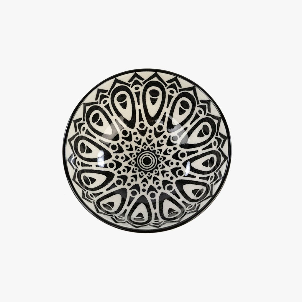 Taça Asia Branco e Preto 12.65 cm