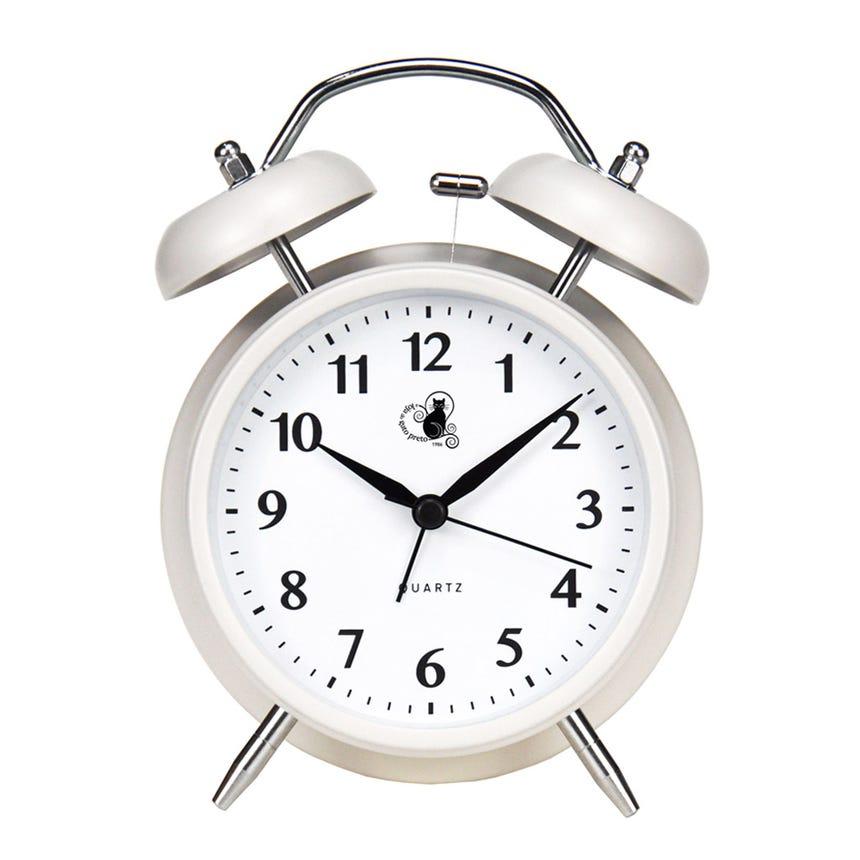 Relógio Despertador Antigo Branco 12x16 cm