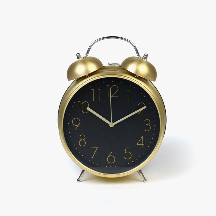 Relógio Despertador preto e ouro
