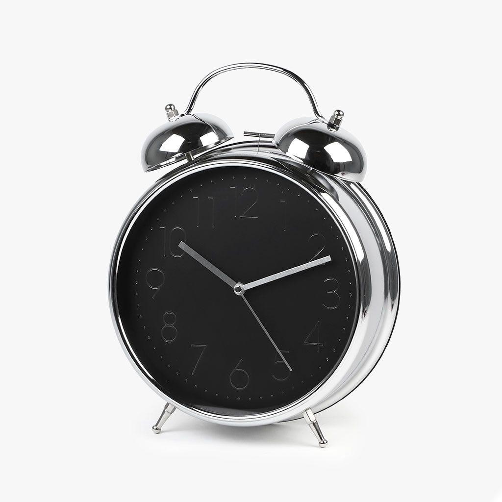 Relógio Despertador prata e preto