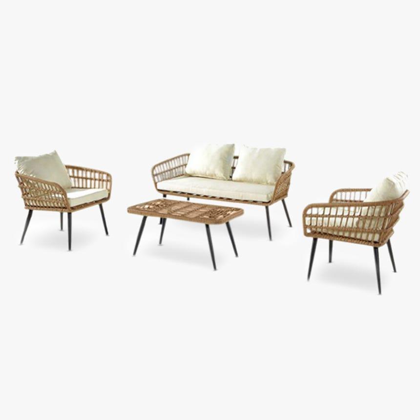 Conjunto de exterior 3 sillas y mesa Búzios Blanco