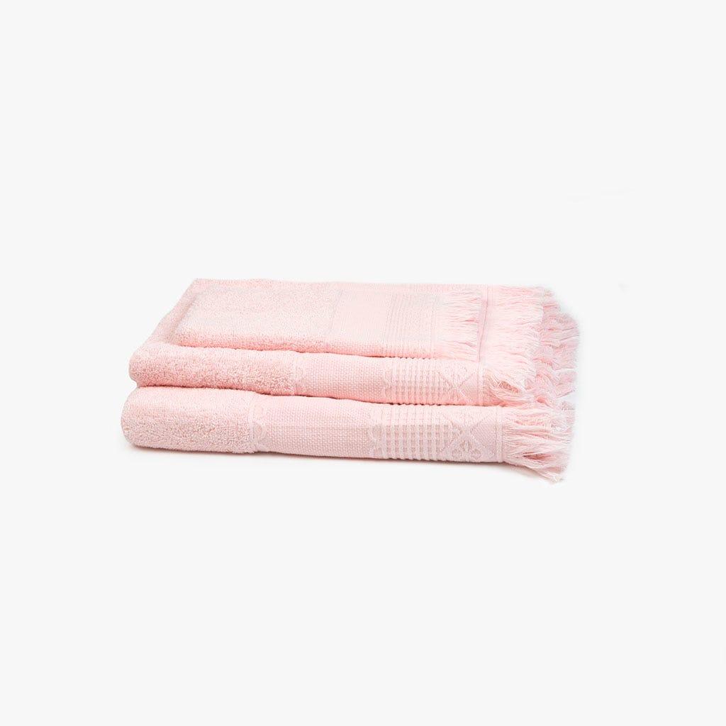 Toalha de banho com Franjas rosa 30x50 cm