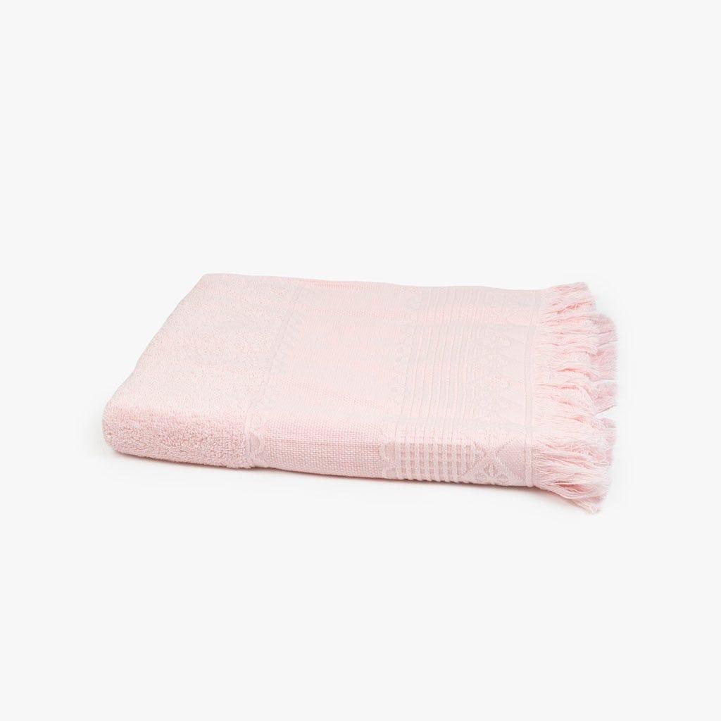 Toalha de banho com Franjas rosa 70x140 cm