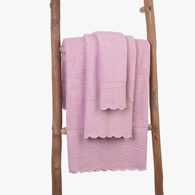 Toalha de banho Andes barra rosa 50x90 cm
