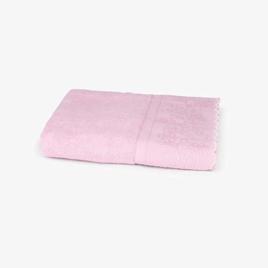 Toalha de banho Andes barra rosa 90x150 cm