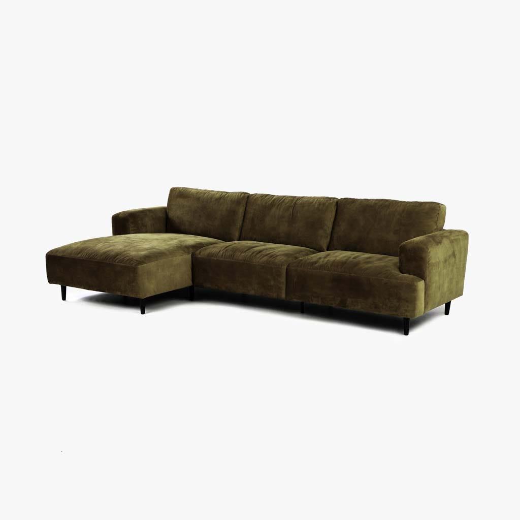 Sofá com Chaise Longue Esquerda Freeman Verde