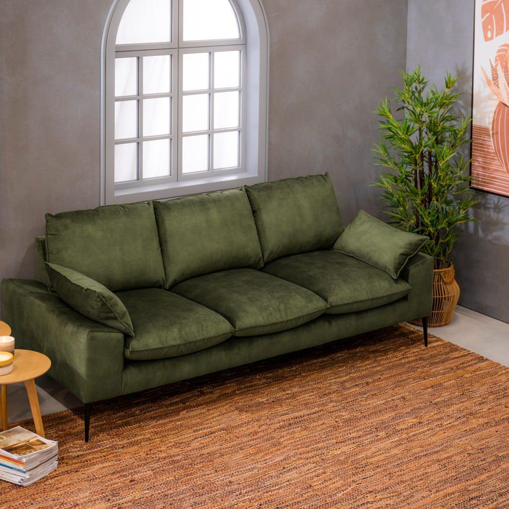 Sofá Connelly Terciopelo Verde 227x100.5x92 cm