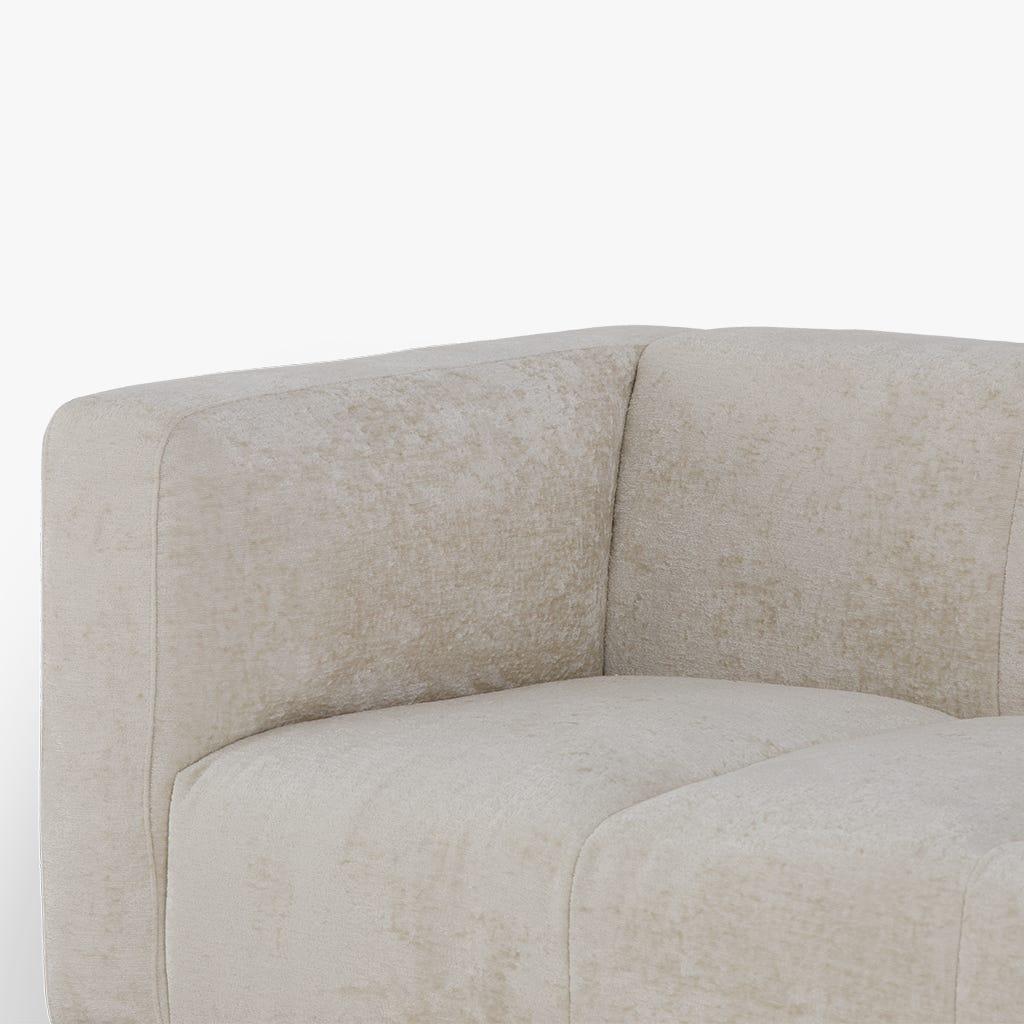 Sofá Gadot veludo branco ice 231x91x74 cm