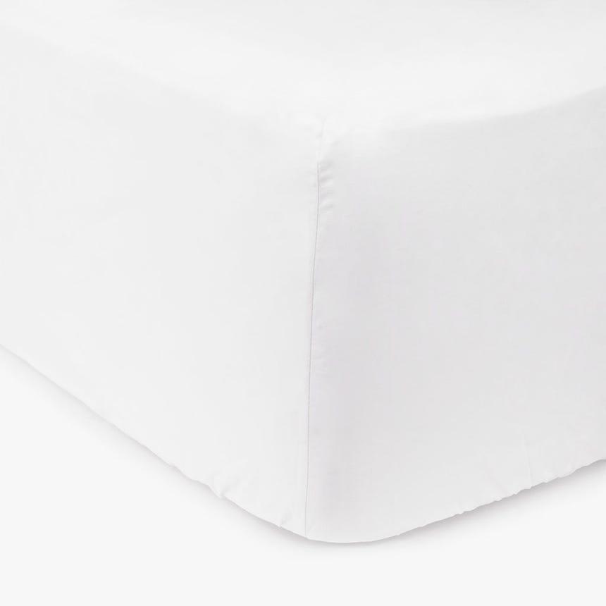 Lençol de baixo percal branco 180x200 cm