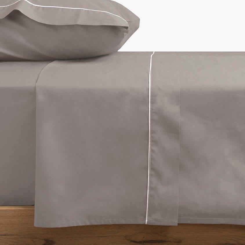 Lençol de cima percal cinza 160x280 cm