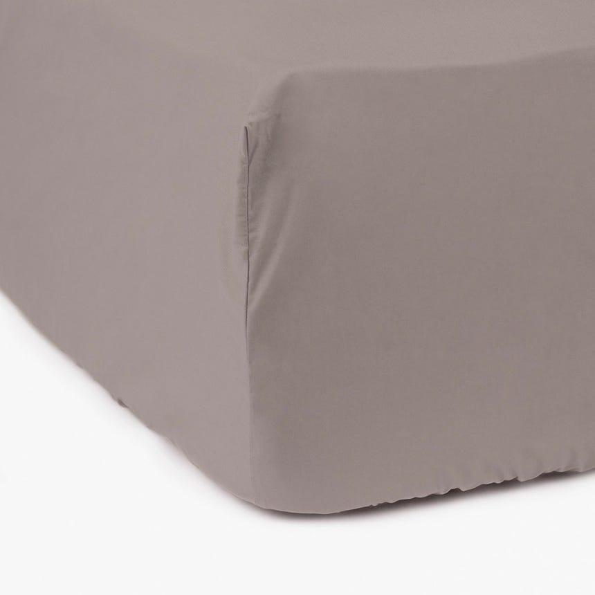 Lençol de baixo percal cinza 160x200 cm