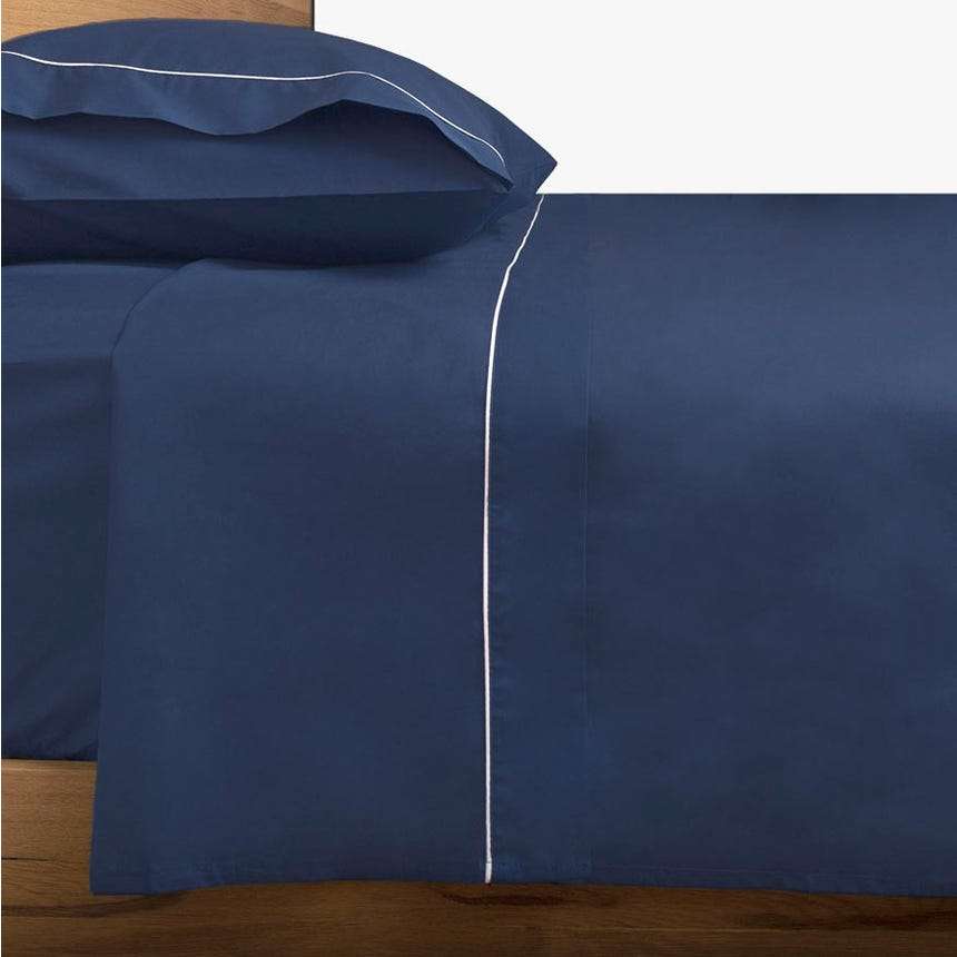 Lençol de cima percal azul 160x280 cm