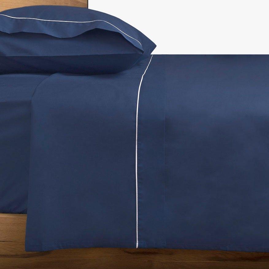 Lençol de cima percal azul 240x280 cm