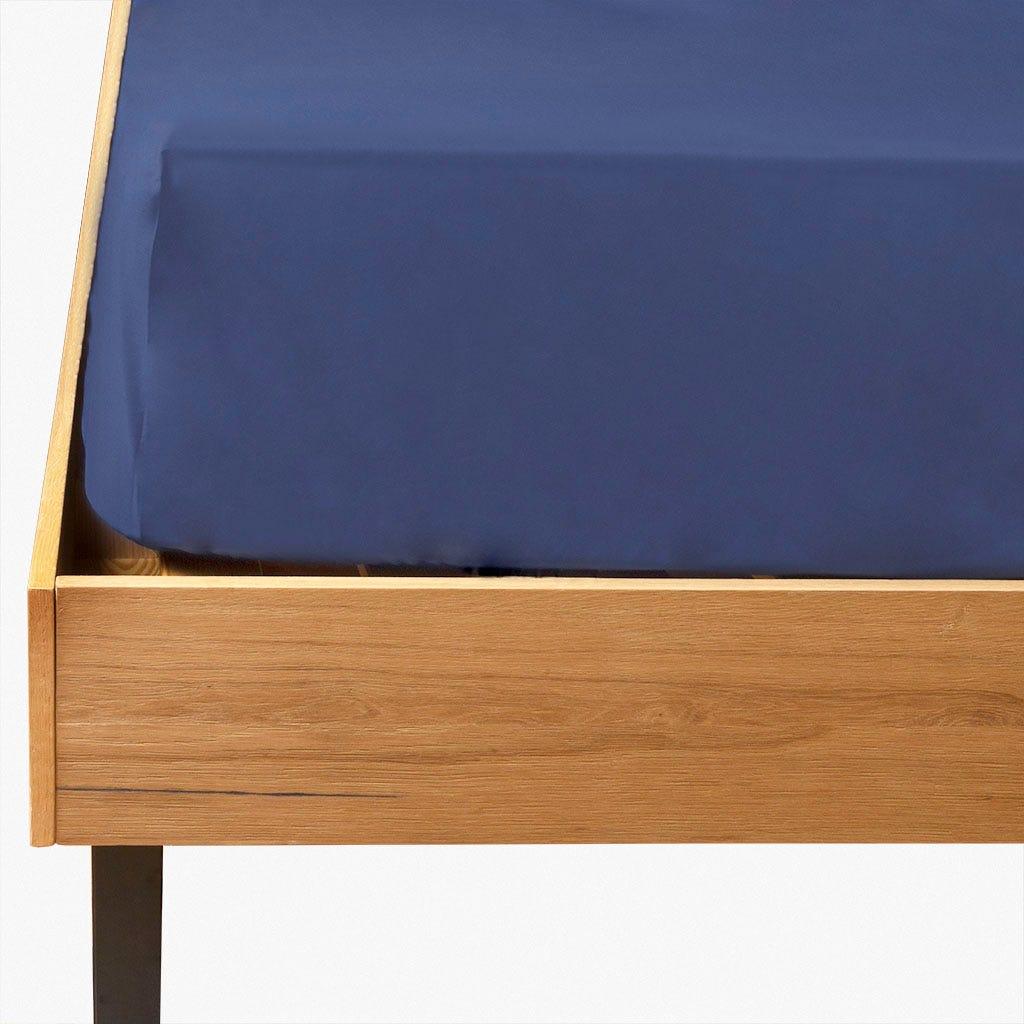 Lençol de baixo percal azul 160x200 cm