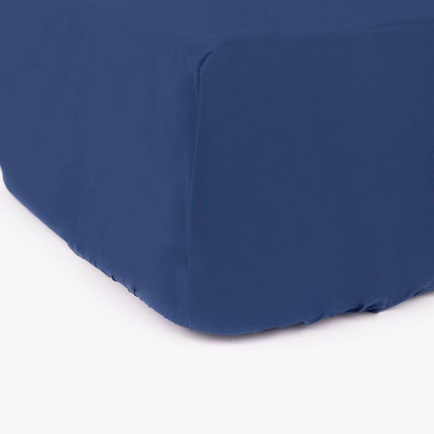 Lençol de baixo percal azul 180x200 cm