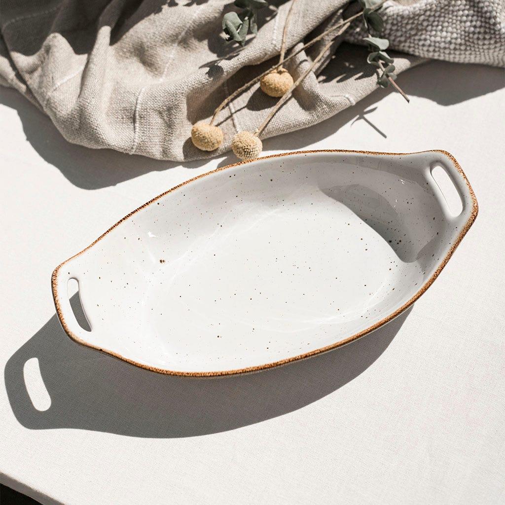 Assadeira oval Porto Covo Grés fino Branca 32 cm
