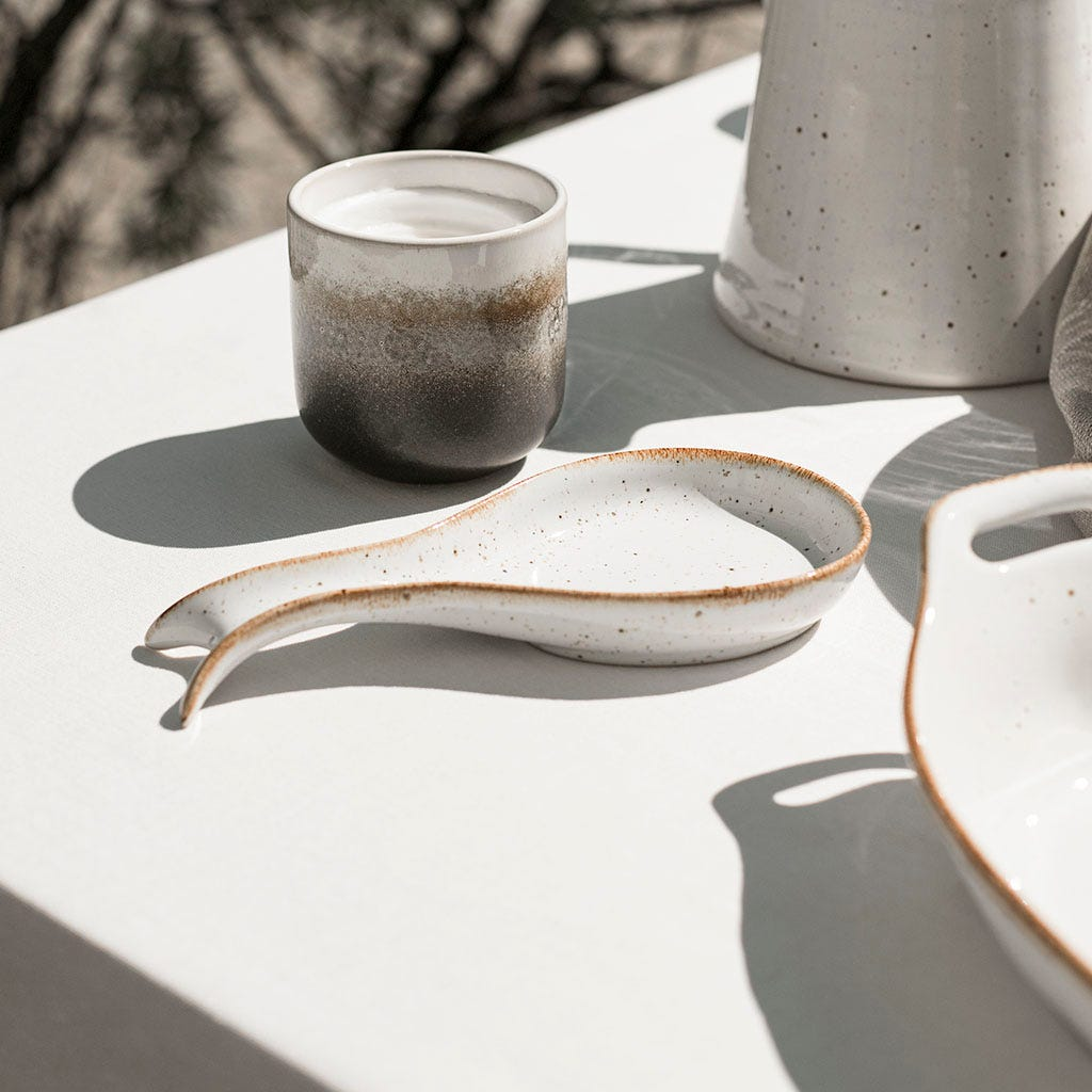 Base de colher Porto Covo grés fino branca 22 cm