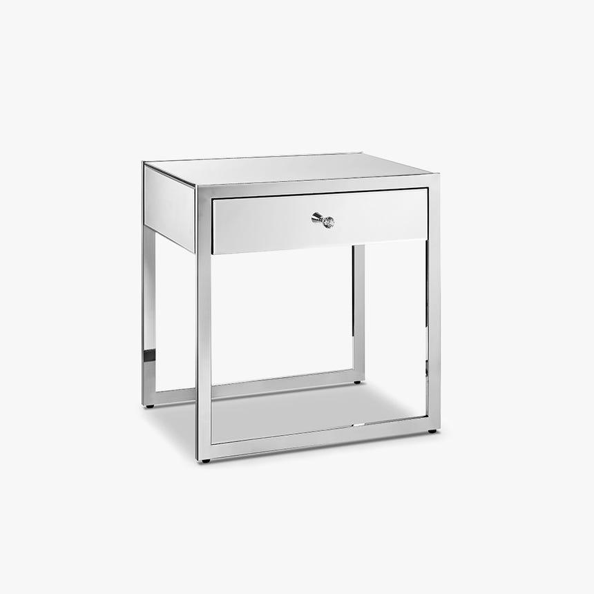 Mesa de cabeceira Kapoor espelho com 1 gaveta 55x40x58 cm