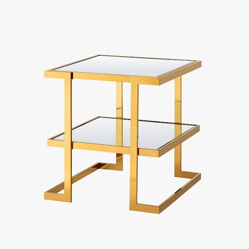 Mesa de apoio Bellagio espelho espelho dourado 50x50x55 cm