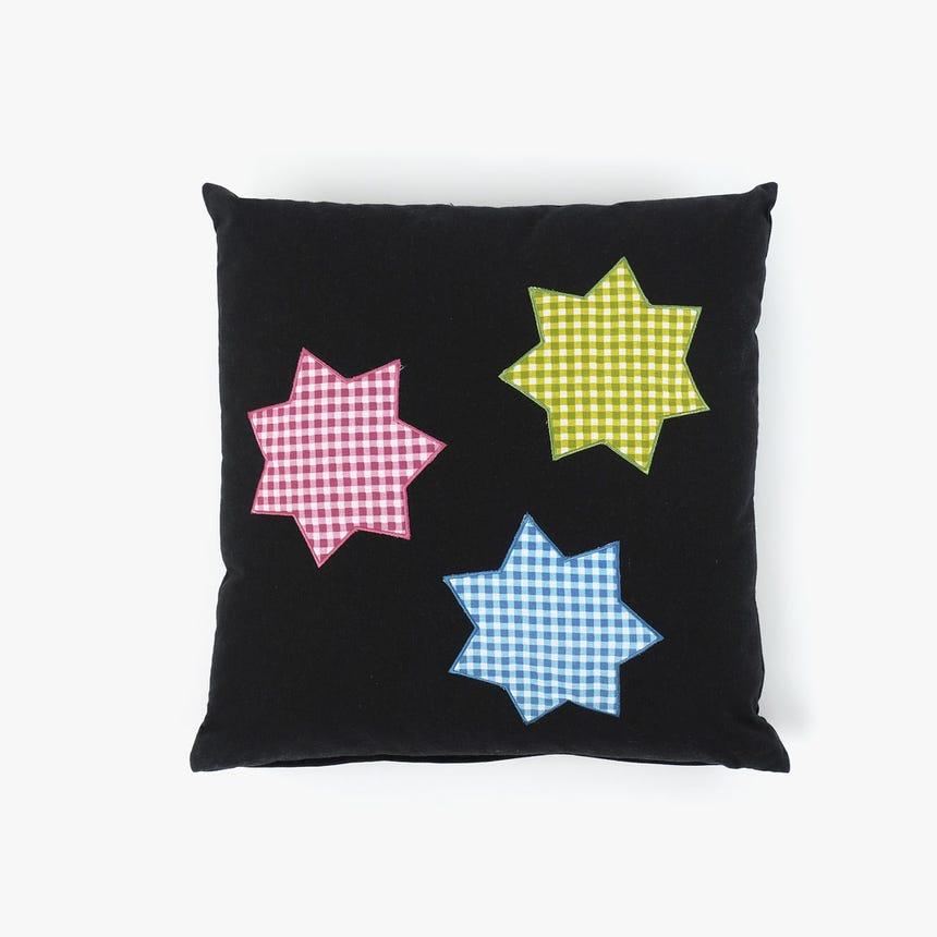 Almofada 3 Estrelas Preta 45x45 cm
