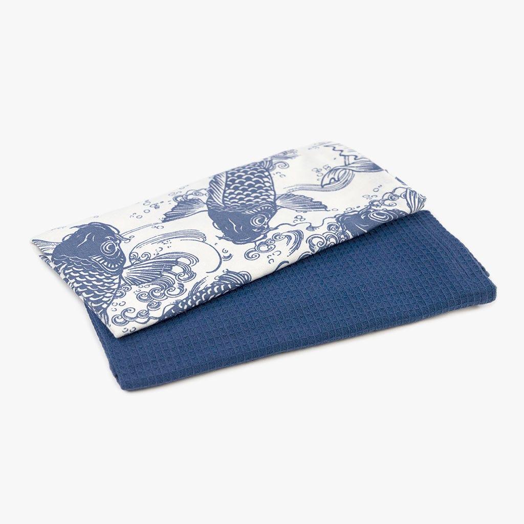 Pano de Cozinha Carpas Azul 50x70 cm (conjunto2)