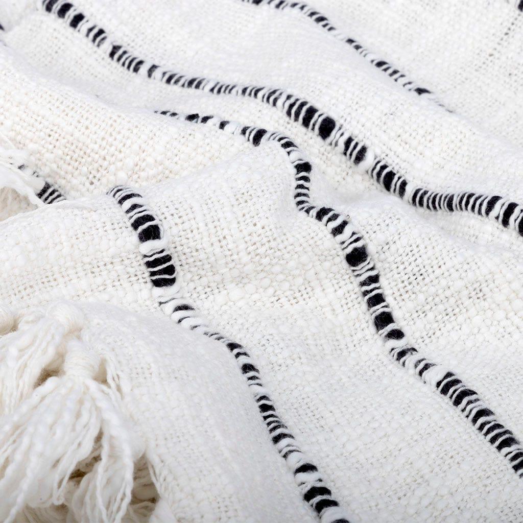 Manta Soft riscas branco e preto 130x170 cm